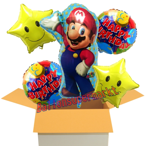 ballon bouquet aus 5 folienballons super mario happy. Black Bedroom Furniture Sets. Home Design Ideas