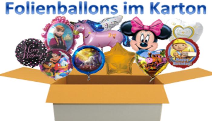 Folienballons, Luftballons aus Folie mit Ballongas Helium zum Versand im Karton