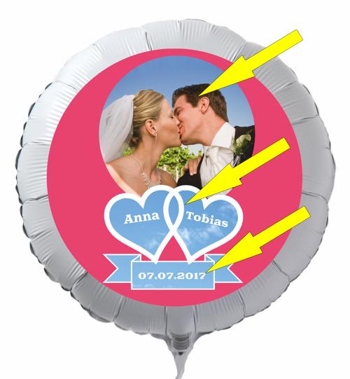 Personalisierter Fotoballon mit Hochzeitspaar zur Hochzeit
