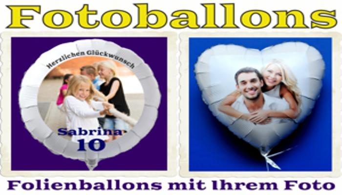 Fotoballons, Luftballons aus Folie mit eigenem Foto und Text inklusive Ballongas Helium