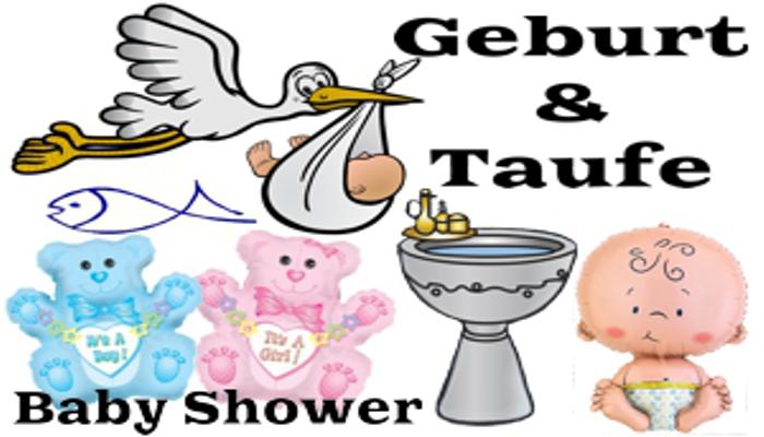 Geburt, Taufe, Babyparty. Dekoration und Luftballons