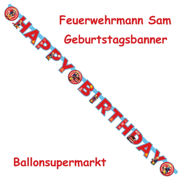 geburtstagsgirlande feuerwehrmann sam happy birthday buchstabengirlande partydekoration. Black Bedroom Furniture Sets. Home Design Ideas