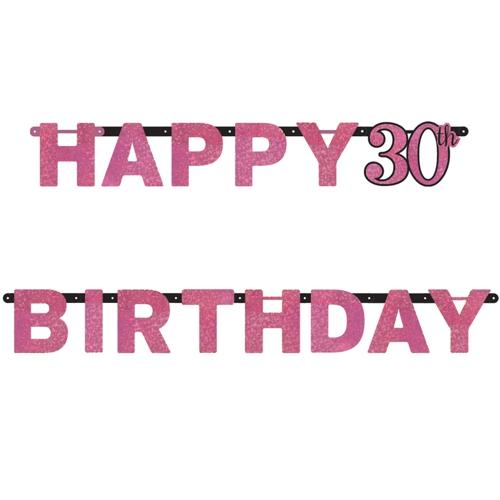 ballonsupermarkt geburtstagsbanner pink celebration 30 zum 30 geburtstag. Black Bedroom Furniture Sets. Home Design Ideas