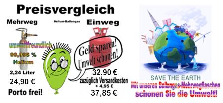 Geld sparen und die Umwelt schonen: Preisvergleich Ballongas Helium Einweg und Mehrweg