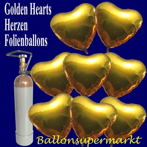 Herzluftballons aus Folie in Gold, Luftballons zur Hochzeit steigen lassen