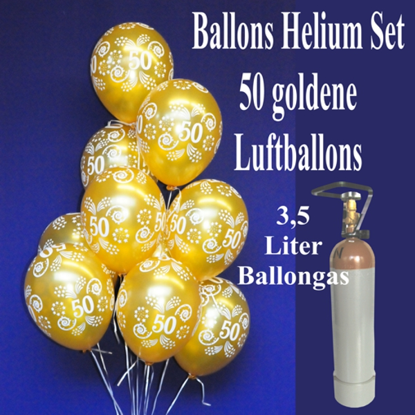 luftballons helium set 50 goldene luftballons zahl 50 zur goldenen hochzeit ballonsupermarkt. Black Bedroom Furniture Sets. Home Design Ideas