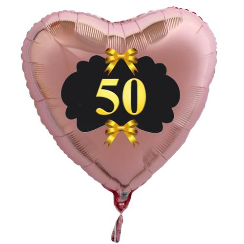 ballonsupermarkt goldene hochzeit rosegoldener herzballon aus folie 50 mit. Black Bedroom Furniture Sets. Home Design Ideas