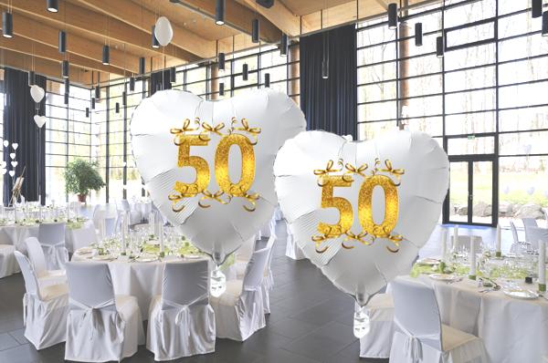 ballonsupermarkt goldene hochzeit wei er herzballon aus folie ohne helium 50. Black Bedroom Furniture Sets. Home Design Ideas
