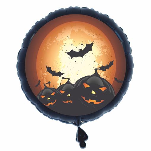 halloween luftballon aus folie 46 cm rundballon schwarz k rbisse und flederm use halloween. Black Bedroom Furniture Sets. Home Design Ideas