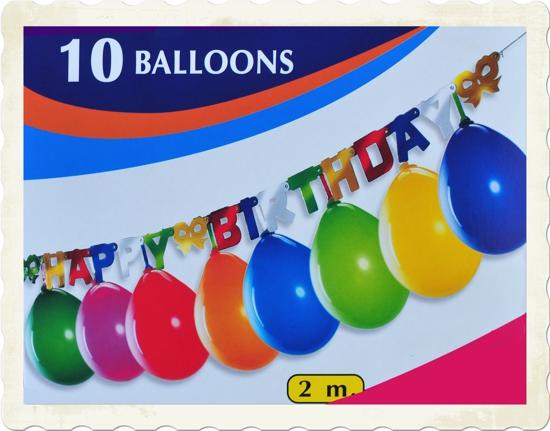 ballonsupermarkt partygirlande happy birthday mit 10 luftballons 2 meter. Black Bedroom Furniture Sets. Home Design Ideas