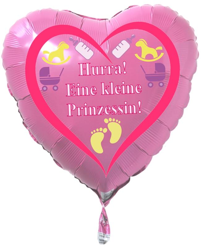 Luftballon Herz, Geburt, Taufe, Hurra! Eine kleine Prinzessin!