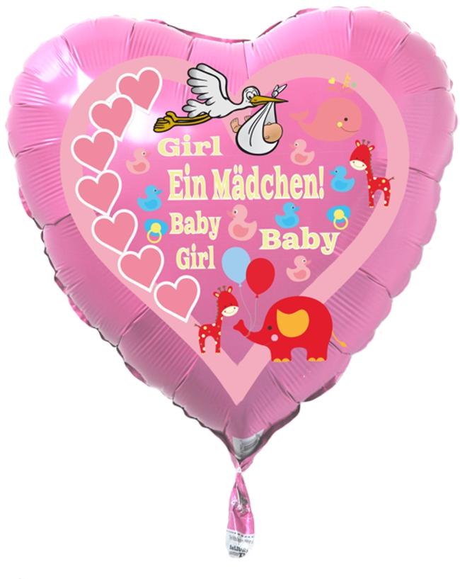Luftballon in Herzform, Geburt, Taufe Baby Girl, Mädchen