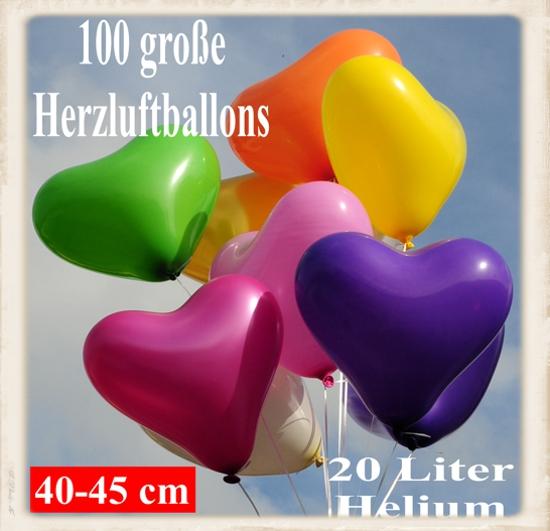 ballonsupermarkt maxi set 1b 45 100 herzluftballons 40 45 cm mit helium. Black Bedroom Furniture Sets. Home Design Ideas