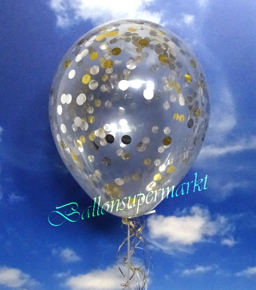 ballonsupermarkt jumbo konfetti ballons transparent gef llt mit konfetti in gold. Black Bedroom Furniture Sets. Home Design Ideas