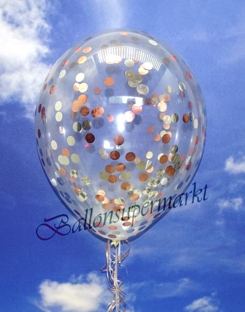 jumbo konfetti ballons transparent gef llt mit konfetti in rosegold und silber ballonsupermarkt. Black Bedroom Furniture Sets. Home Design Ideas