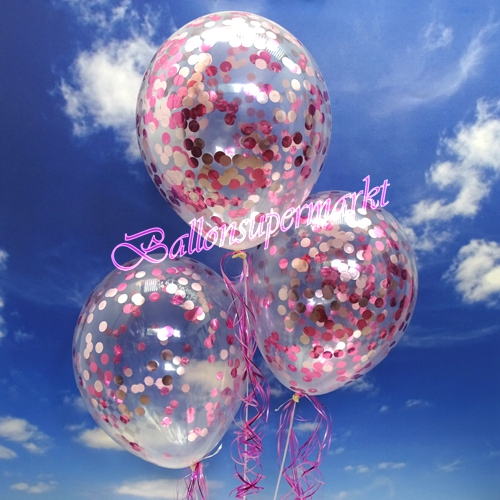 jumbo konfetti ballons transparent gef llt mit konfetti in rosa und pink ballonsupermarkt. Black Bedroom Furniture Sets. Home Design Ideas