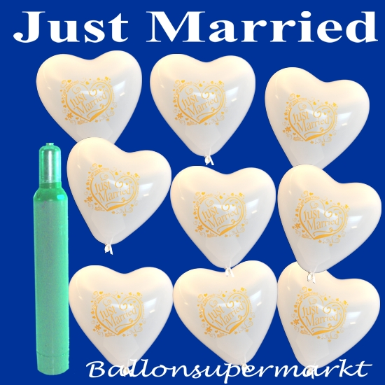 Just-Married-Herzluftballons-Ballons-Helium-Hochzeit-Set