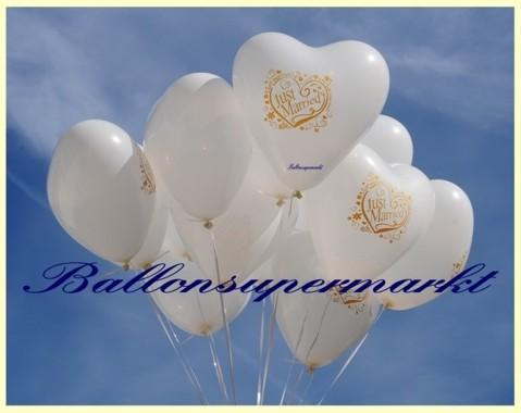 Luftballons zur Hochzeit steigen lassen: Just Married, weiße Herzluftballons