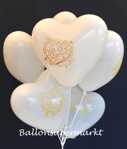 Weiße Just Married Herzluftballons mit Helium zur Hochzeitsfeier