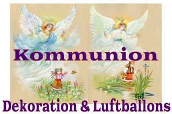 Kommunion-Dekoration und Luftballons