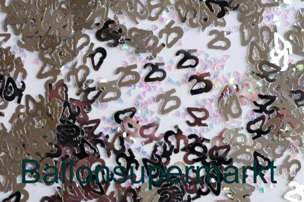Konfetti 25 Silber Tischdeko Und Streudekoration Zur Silbernen