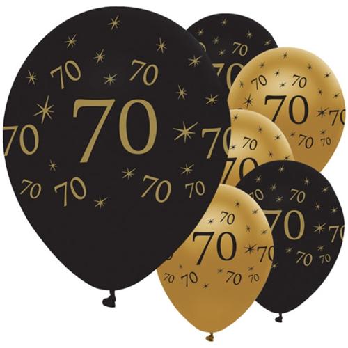 Ballonsupermarkt luftballons latexballons black and gold 70 zum 70 geburtstag - Dekoration zum 70 geburtstag ...