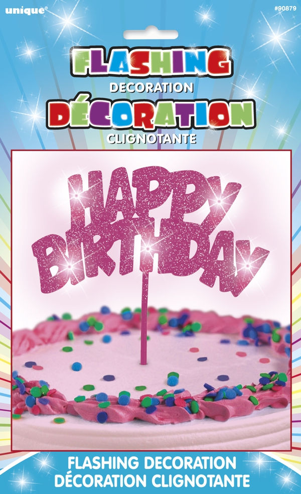 leuchtende kuchendekoration happy birthday pink tischdekoration geburtstag geburtstag. Black Bedroom Furniture Sets. Home Design Ideas
