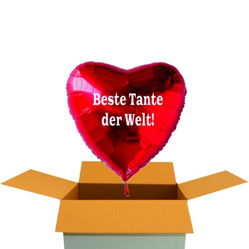Folienballon Beste Tante Der Welt Roter Herzluftballon Aus