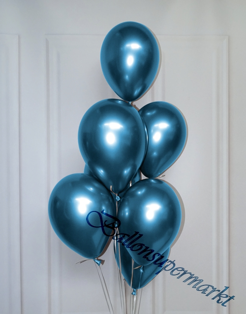 Luftballons-Chrome-blau-Ballondekoration-Chromglanz-Arrangement