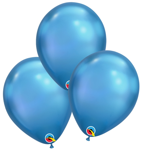 Luftballons-Chrome-Blau-Premium-Qualatex-Ballondekoration-Chromglanz-3er-Arrangement