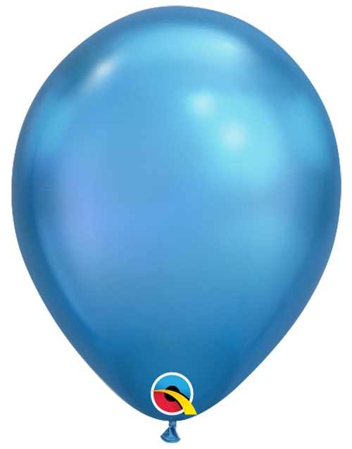 Luftballons-Chrome-Blau-Premium-Qualatex-Ballondekoration-Chromglanz