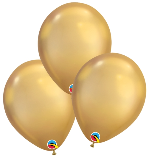 Luftballons-Chrome-gold-Premium-Qualatex-Ballondekoration-Chromglanz-3er-Arrangement