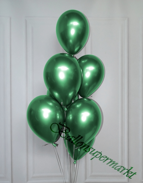 Luftballons-Chrome-gruen-Ballondekoration-Chromglanz-Arrangement