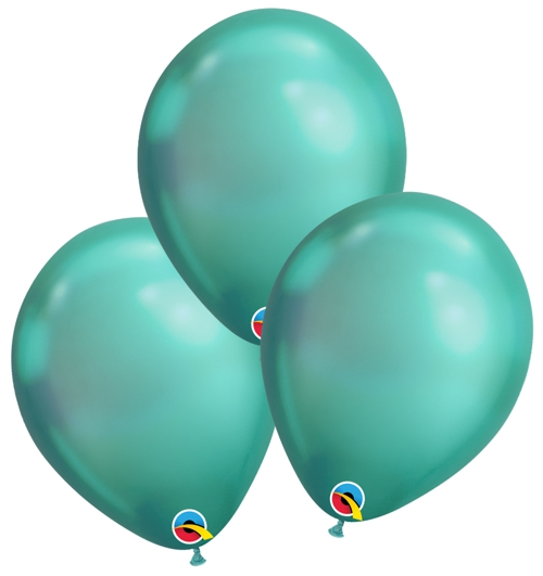 Luftballons-Chrome-gruen-Premium-Qualatex-Ballondekoration-Chromglanz-3er-Arrangement