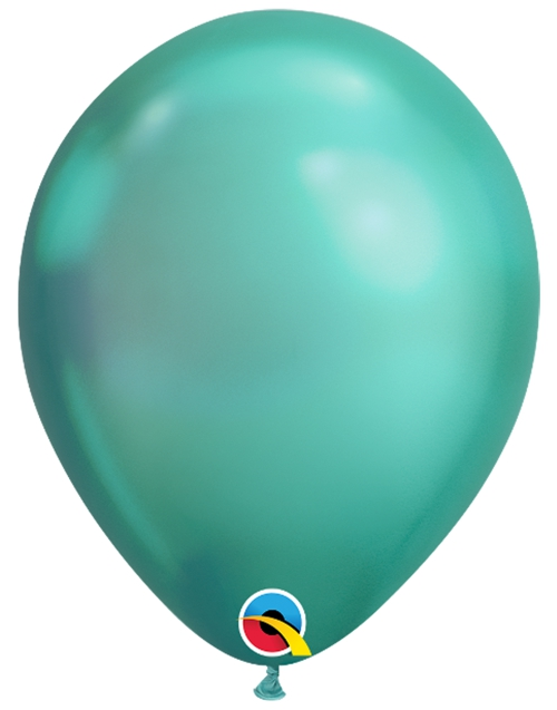 Luftballons-Chrome-gruen-Premium-Qualatex-Ballondekoration-Chromglanz