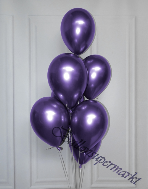 Luftballons-Chrome-lila-Ballondekoration-Chromglanz-Arrangement