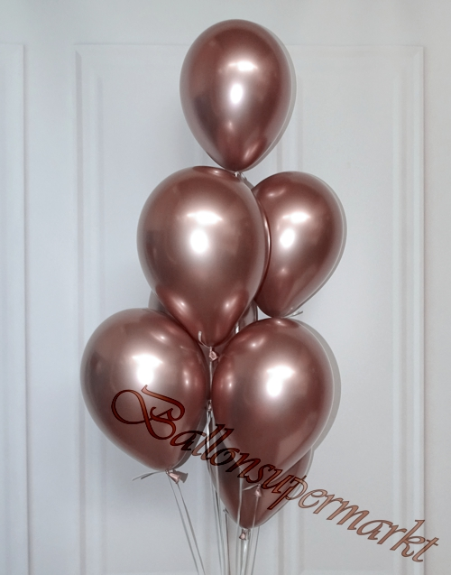 Luftballons-Chrome-rosegold-Ballondekoration-Chromglanz-Arrangement