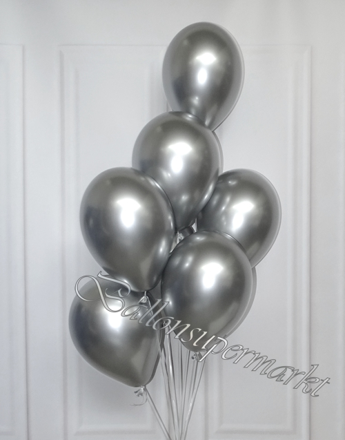 Luftballons-Chrome-silber-Ballondekoration-Chromglanz-Arrangement