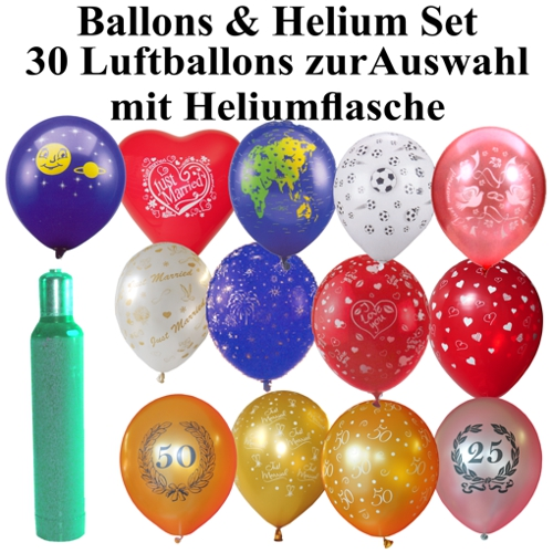ballonsupermarkt helium mehrweg set mit 30 luftballons auswahl selbst bestimmen. Black Bedroom Furniture Sets. Home Design Ideas