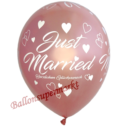 Luftballons-Just-Married-5-Stueck-Rosegold-Dekoration-zur-Hochzeit-aus-Latexballons