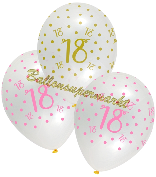 6 Stück Luftballons Zahl 18 Latexballons Pink//Lila für 18 Geburtstag 30cm Ø