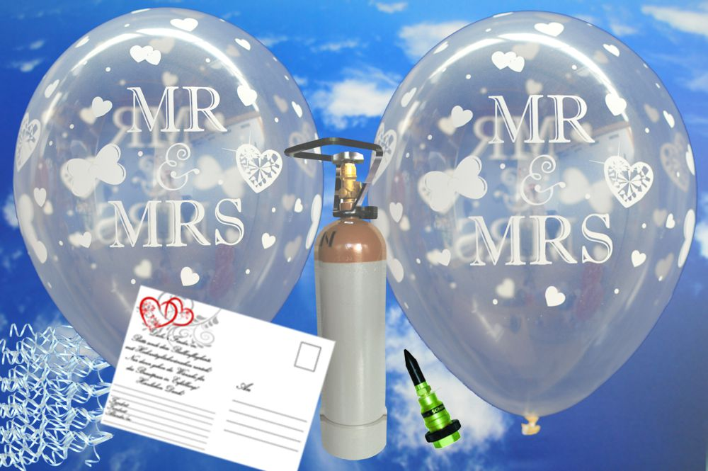 midi set luftballons zur hochzeit steigen lassen 25 transparente hochzeitsluftballons mr and. Black Bedroom Furniture Sets. Home Design Ideas