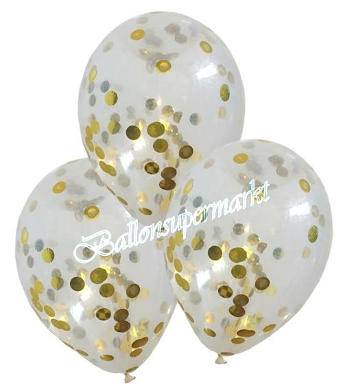konfetti ballons latex 25 cm transparent 3 st ck gef llt mit konfetti in gold ballonsupermarkt. Black Bedroom Furniture Sets. Home Design Ideas