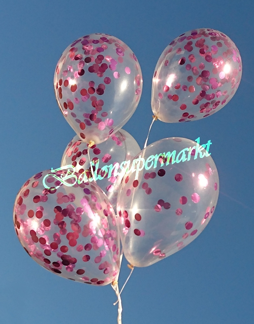 ballonsupermarkt konfetti ballons transparent gef llt mit konfetti in pink. Black Bedroom Furniture Sets. Home Design Ideas