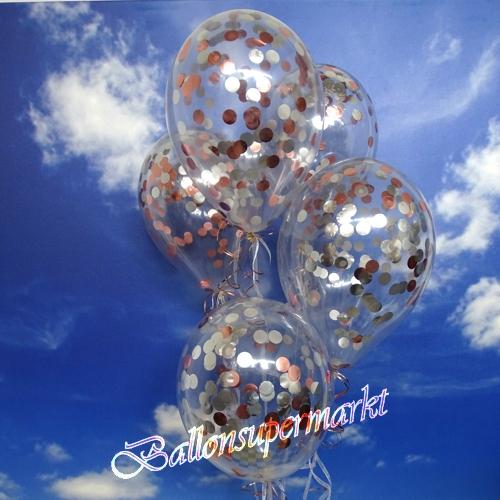 konfetti ballons transparent gef llt mit konfetti in rosegold und silber ballonsupermarkt. Black Bedroom Furniture Sets. Home Design Ideas