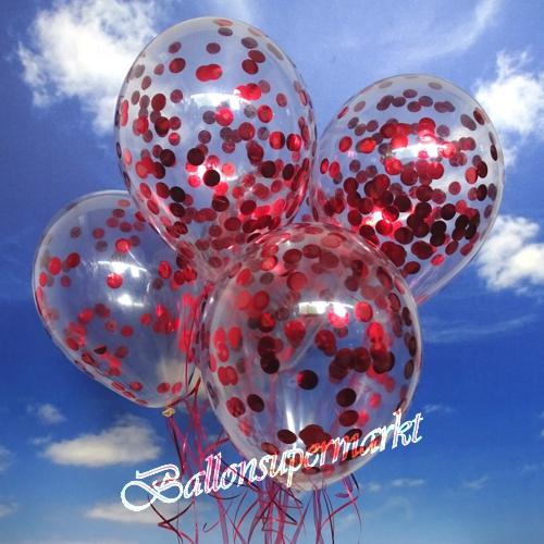 konfetti ballons transparent gef llt mit konfetti in rot ballonsupermarkt. Black Bedroom Furniture Sets. Home Design Ideas