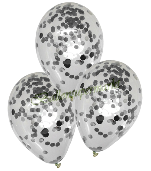 konfetti ballons latex 25 cm transparent gef llt mit konfetti in silber ballonsupermarkt. Black Bedroom Furniture Sets. Home Design Ideas