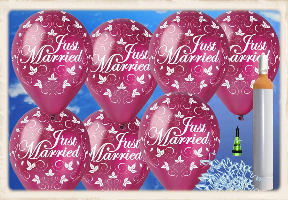 ballons helium maxi set hochzeit 100 hochzeitsluftballons just married in burgund mit helium. Black Bedroom Furniture Sets. Home Design Ideas