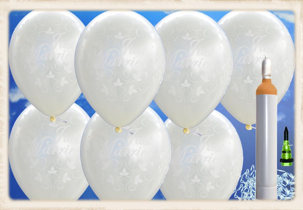 ballons helium maxi set hochzeit 100 hochzeitsluftballons just married in elfenbein mit helium. Black Bedroom Furniture Sets. Home Design Ideas