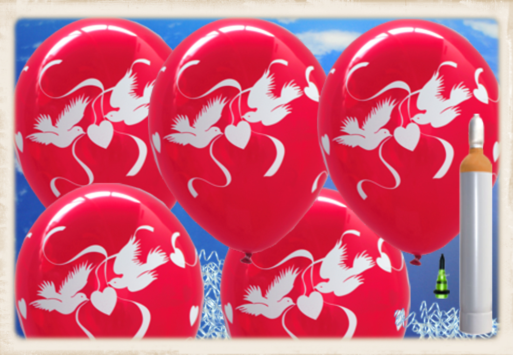 ballonsupermarkt maxi ballons helium set 100 rubinrote luftballons mit wei en. Black Bedroom Furniture Sets. Home Design Ideas